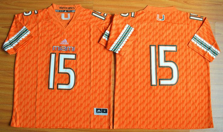 Men's NCAA Miami Hurricanes #15 Brad Kaaya Orange Jersey