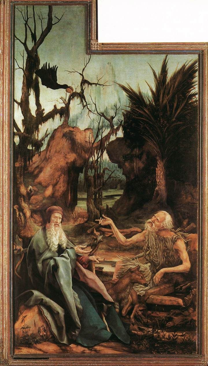 """Matthias Grünewald: """"Isenheim Altarpiece -- The Meeting of St. Anthony Abbot and St. Paul in the Wilderness,"""" ca. 1474-1528"""