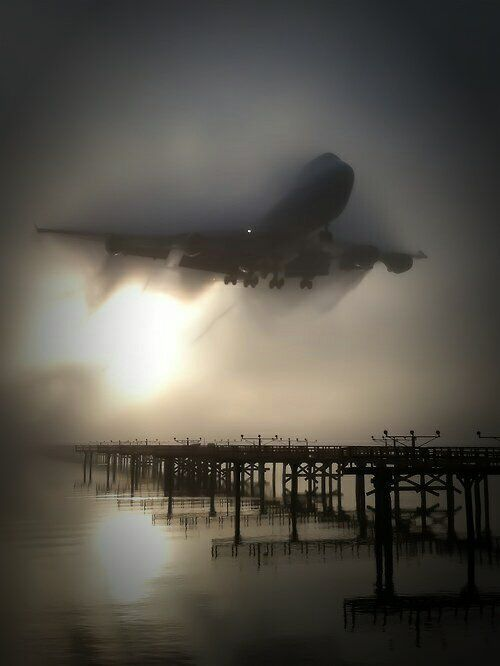 A foggy takeoff.