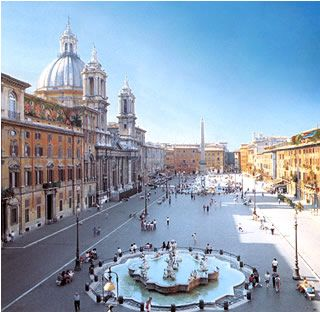 "The Piazza Navona in Rome.  Our honeymoon B&B was just off the piazza and we became ""regulars"" at a restaurant.  It's full of activity but not too crowded."