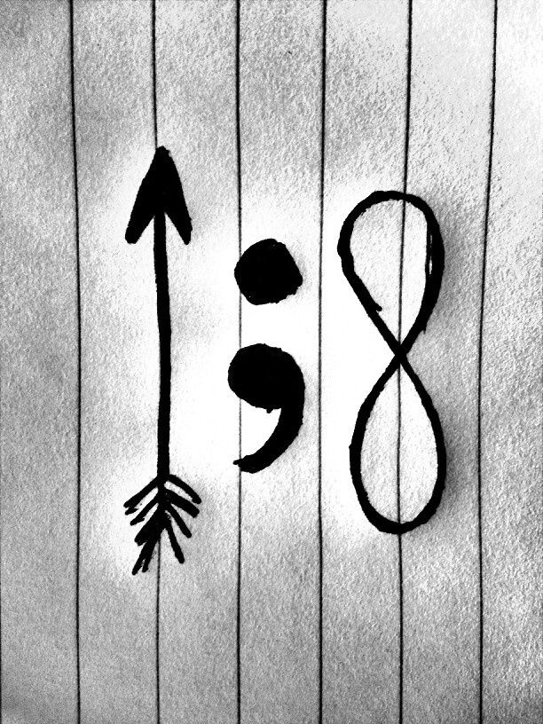 the arrow is the representation that you get pulled back before moving forward. the semicolon is the option to stop but the choice to keep going and infinity is always & forever...