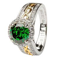 Shanore Silver Green Cz Halo Ring