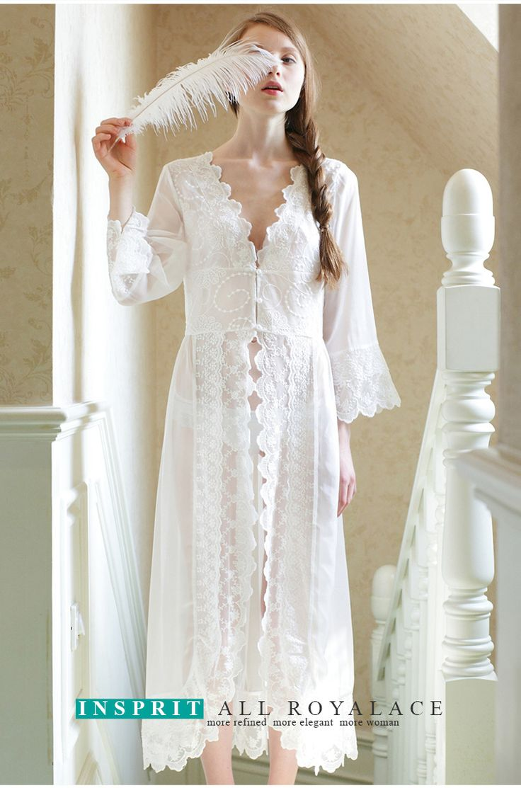 Exquisite Bridal Lingerie sexy lace nightgown pajamas nightgown Wedding Long  underwear, sleeping robe dress sleeping Nightgowns