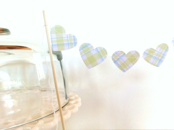 Green Blue White Plaid Paper Heart Garland Cake by ShastaBlue, $3.00