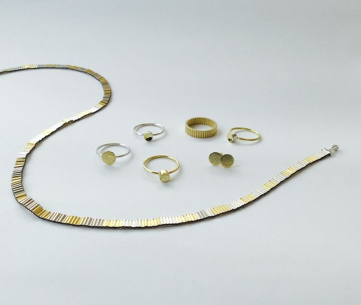Gold sequin ring and ribbon ring and necklace in silver and gold, made by Joanna Campbell