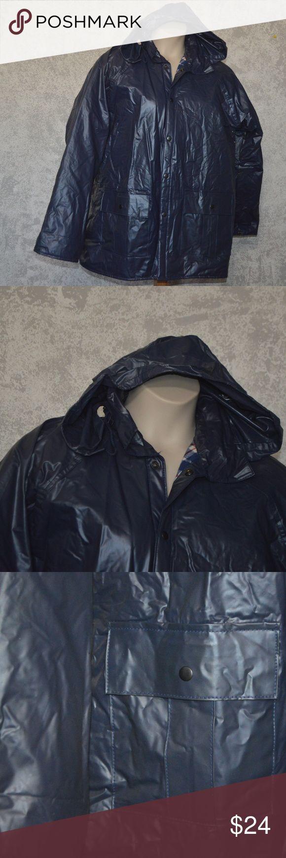 Duck bay flannel lined rain coat, outerwear mens L Comes