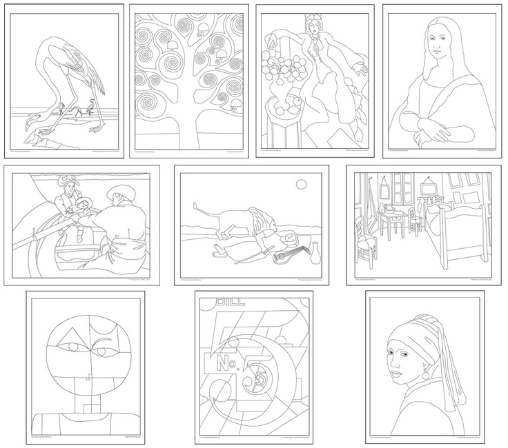 Downloadable Masterpiece Coloring Books From Kathy Barbros Art Projects For Kids Web Site