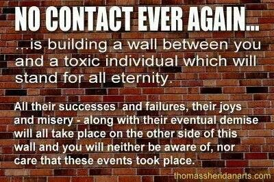 No contact and no response is essential for healing from narcissistic sociopath relationship abuse. Wall built