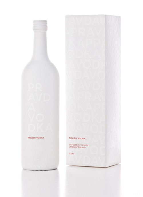 This package for Pravda Vodka looks and feels ultra clean and the all-white bottle would be sure to stand out on a shelf in a bar.