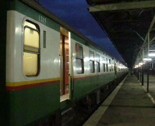 First class sleeping-car exterior, Nairobi to Mombasa train