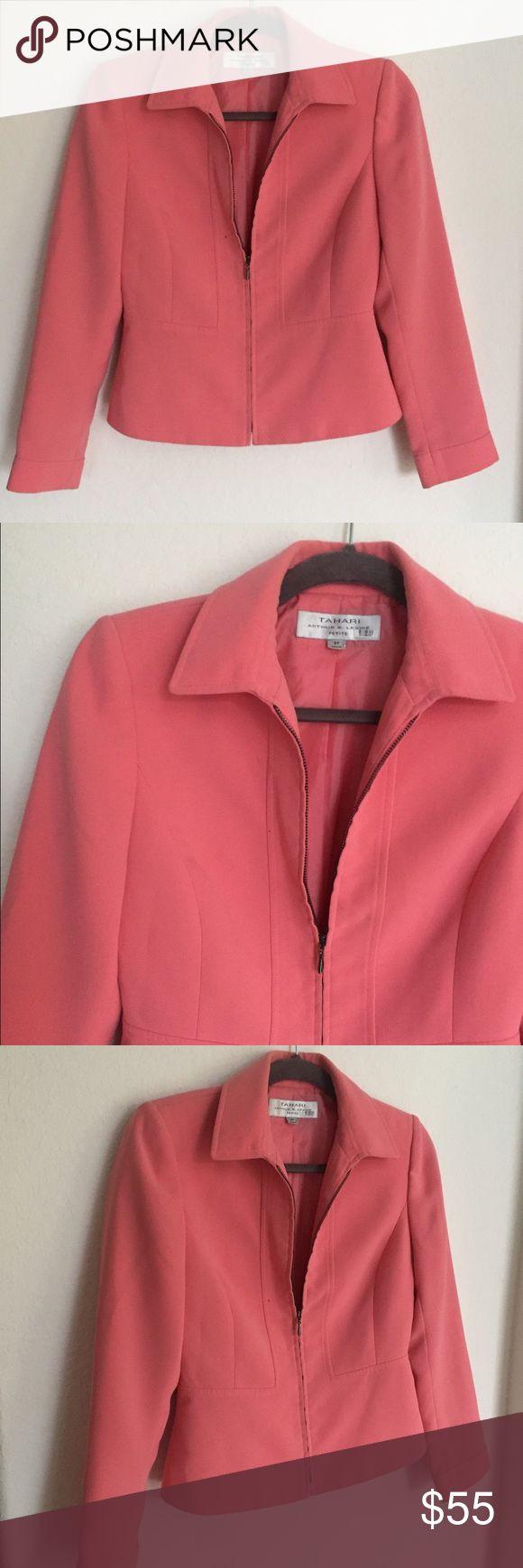 Tahari Coral Zip Up Blazer Tahari Coral Zip Up Blazer  size 2 Petite Tahari Jackets & Coats Blazers