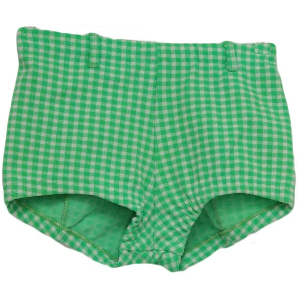60's Care Label Shorts: 60s -Care Label- Womens green and off white... ($25) ❤ liked on Polyvore