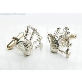 Hallmarked Silver Bagpipes Cufflinks