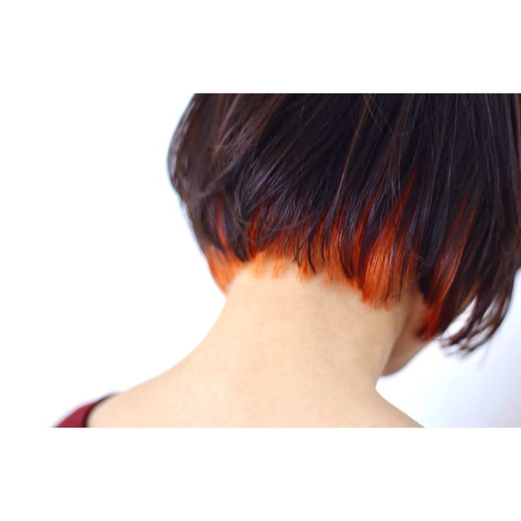 ヘムラインカラーです オレンジは色もちもいいし 色が抜けても綺麗です W 髪 カラー 髪 色 ヘアーデザイン