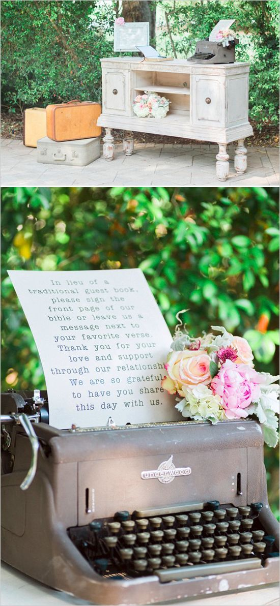 Vintage Wedding guest book table  Idea with the Cutest Details - photo: Hunter Ryan Photo via Wedding Chicks