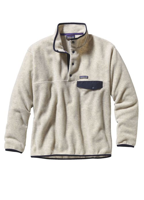 Patagonia Men's Synchilla® Snap-T® Fleece Pullover in Oatmeal Heather is made of heavyweight polyester fleece and features a 4-snap nylon placket, stand-up collar, left-chest pocket with nylon flap an
