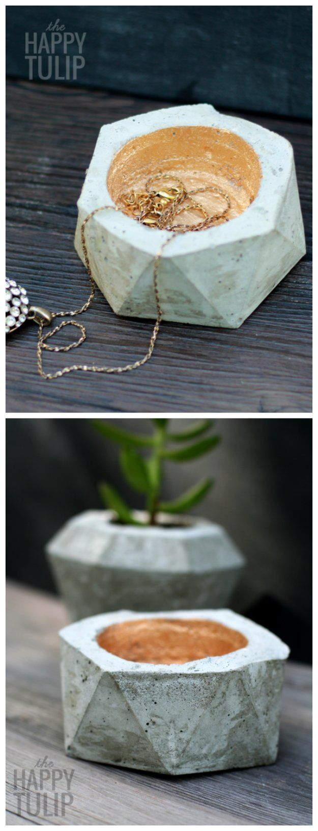 43 DIY concrete crafts -   Crafts to make and sell - DIY Geometric Concrete Jewelry Holders- Cheap and creative projects and tutorials for countertops and ideas for floors, patio and porch decor, tables, planters, vases, frames, jewelry holder, home decor and DIY gifts.  http://diyjoy.com/diy-concrete-crafts-projects-