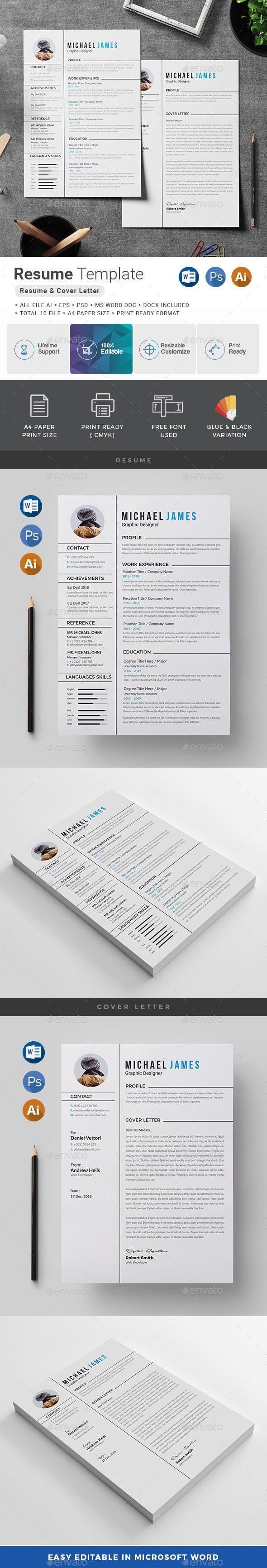 Resume Template PSD, Vector EPS, AI, DOC & DOCX Simple