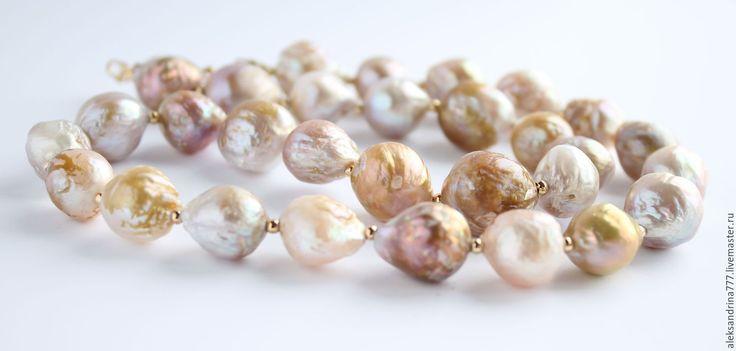 Купить Ожерелье из золотого жемчуга КАСУМИ - комбинированный, золотое колье, Колье из жемчуга, колье из касуми