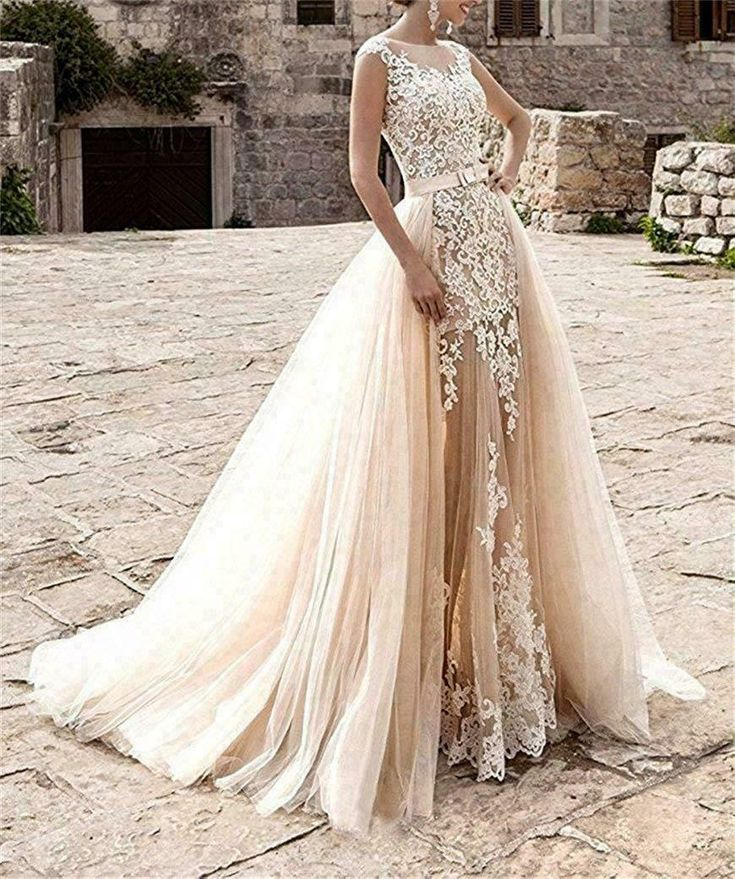 Half Sleeve Gown Wedding Dress Lace Embroidery Bride Gown Short Length SZ 6