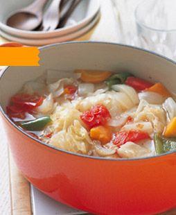 できあがり1杯分は約86キロカロリー6つの野菜を切って煮る。たったそれだけで、野菜のチカラがたっぷり
