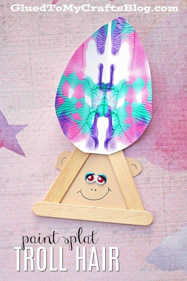Paint Splat Troll Hair - Kid Craft Idea