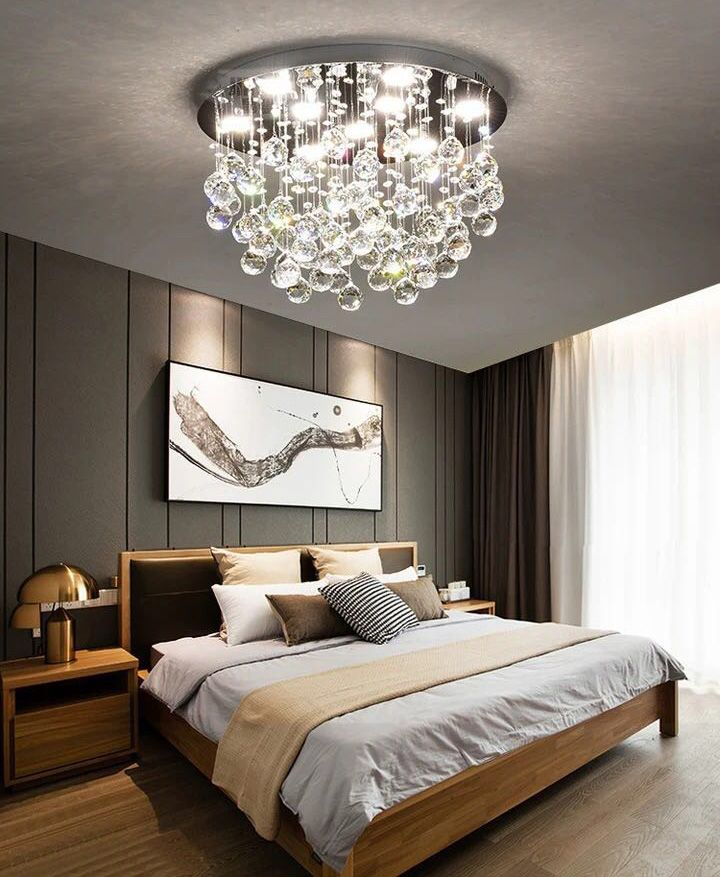 Modern Flush Mount Crystal Chandelier Fruit Shaped Ceiling Light