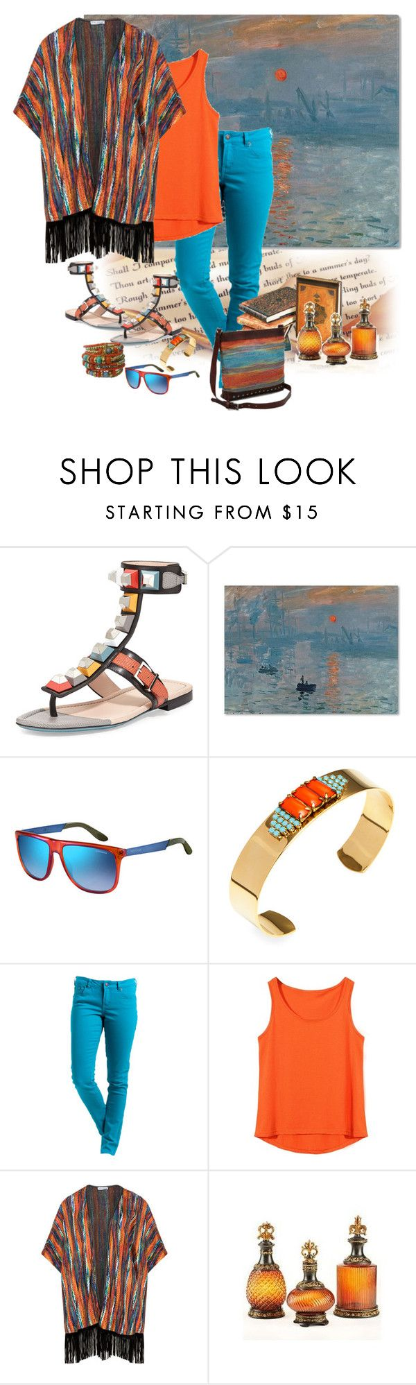 """""""Fendi Multi coloured Studded Ankle Wrap Sandal"""" by lorrainekeenan ❤ liked on Polyvore featuring Fendi, Trademark Fine Art, Carrera, Sandy Hyun, Rip Curl and Maxima"""
