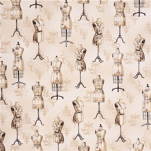 cream mannequin fabric Robert Kaufman Vintage Couturier 2