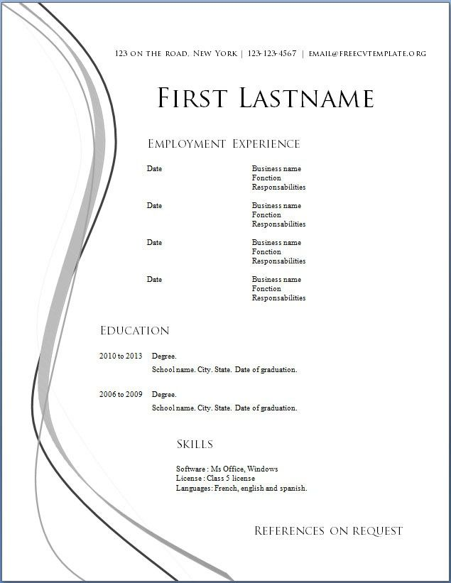 15 free download resume templates word resume template ideas - Resume Template For Word