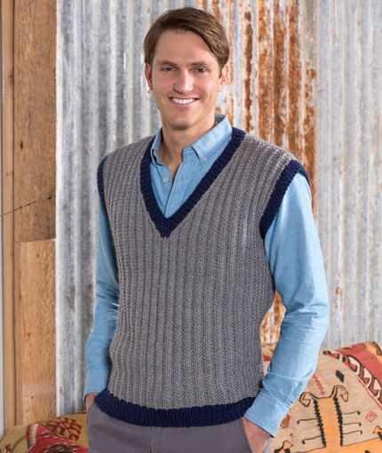 Man's Seeded Rib Vest Free Knitting Pattern from Red Heart Yarns