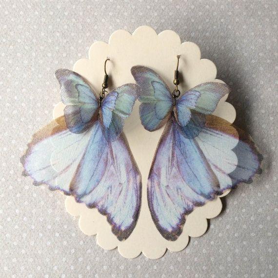 Handmade Pale Blue Morpho Butterfly Wings Earrings unique