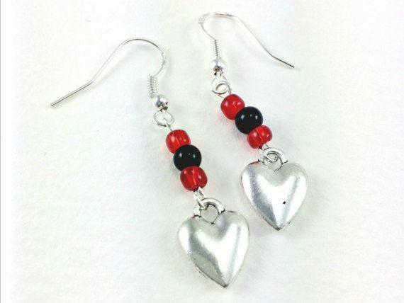 Rockabilly Kitsch Silver Heart Beaded Earrings by KitschBride