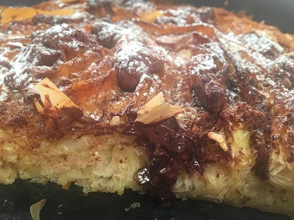Στριφτόπιτα γλυκιά με σοκολάτα, πραλίνα και βανίλια