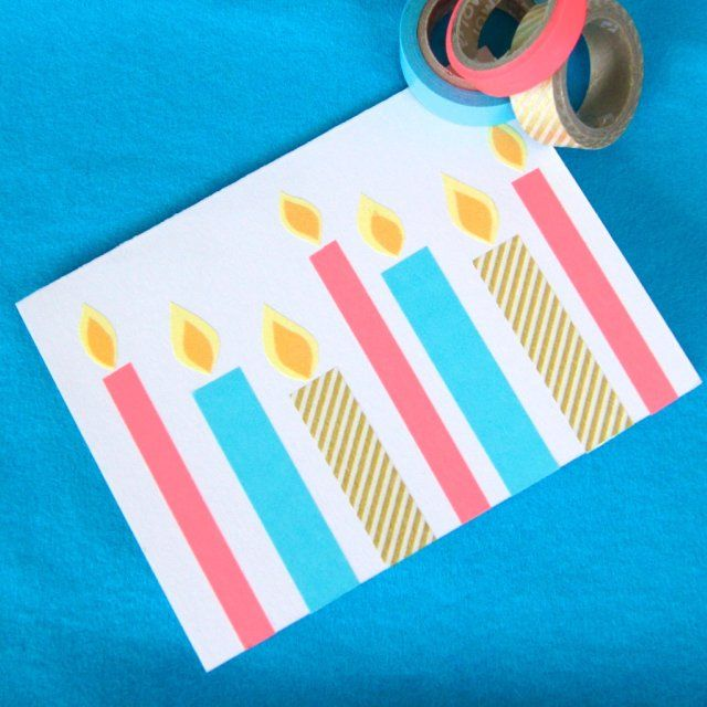 Fun washi tape homemade birthday cards!  Super cute and easy to make!  Lots of cute designs! #card #birthday #washitape