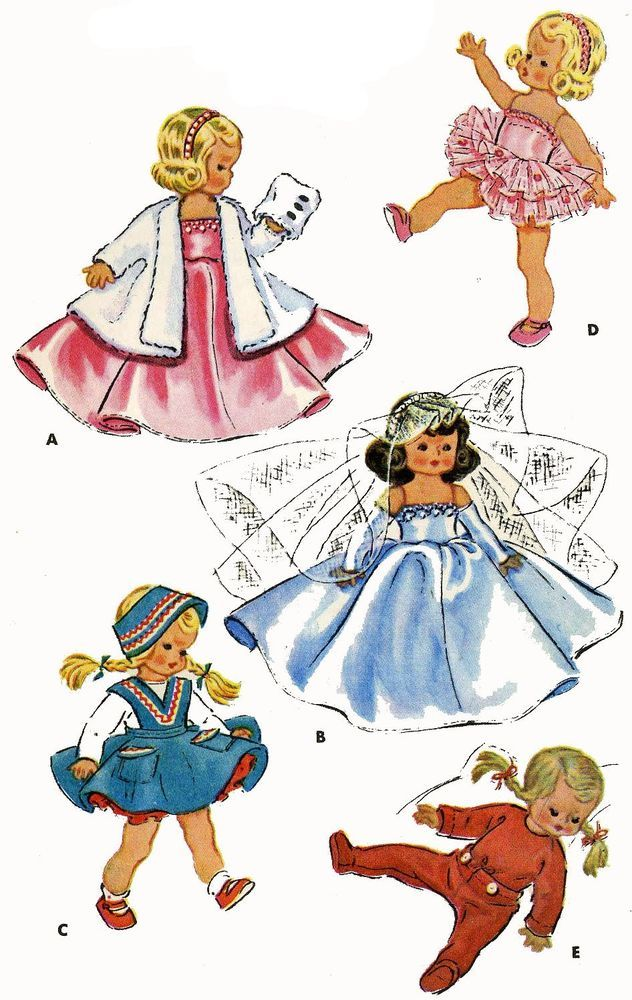 Vintage Doll Clothes Pattern 1965 for 7 8 in Ginny Muffie Alexander ...