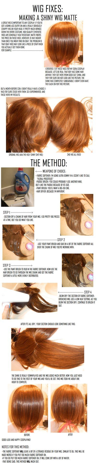 Cosplay Wigs: Taking away wig shine by ~cosplay--tutorials on deviantART #Cosplay