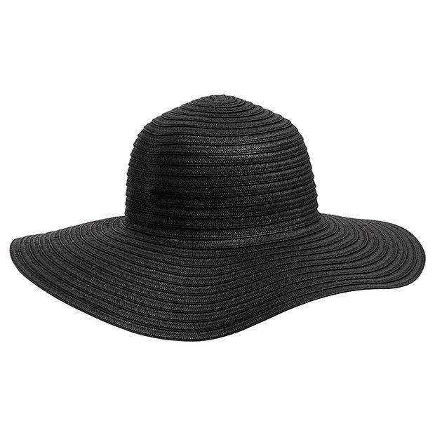 Floppy Straw Hat - Black