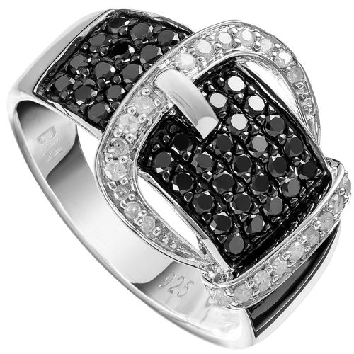 Sterling Silver White  Black Diamond Belt Buckle Ring only $267 - purejewels.com.au