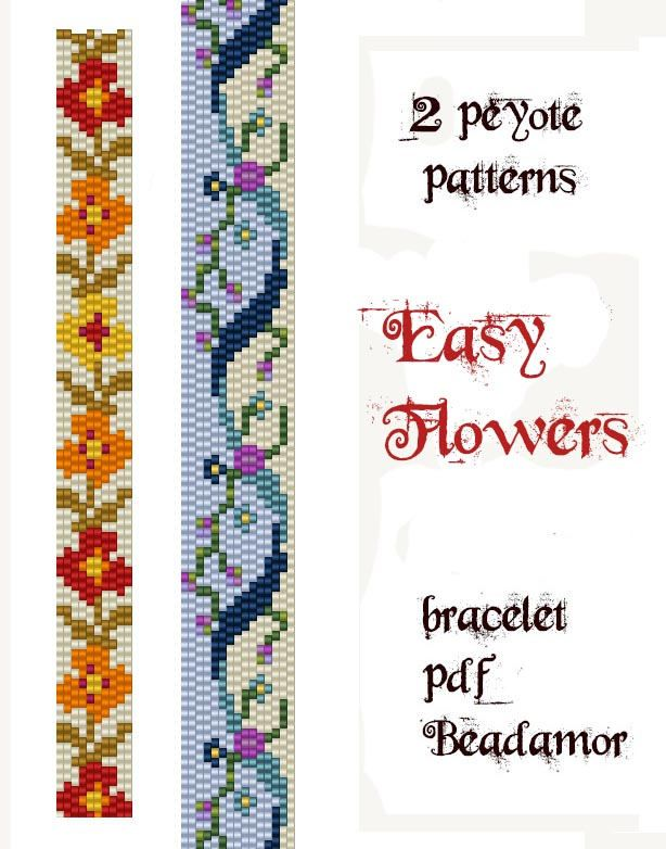 2 Peyote Patterns for bracelets :  Easy Flowers - INSTANT DOWNLOAD pdf by Beadamor on Etsy