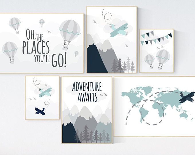 Adventure Nursery Decor Nursery Decor Airplane World Map Nursery Adventure Awaits Yellow Mint Nursery Travel Theme Gender Neutral Adventure Nursery Decor Nursery Decor Boy Elephant Nursery Wall Decor