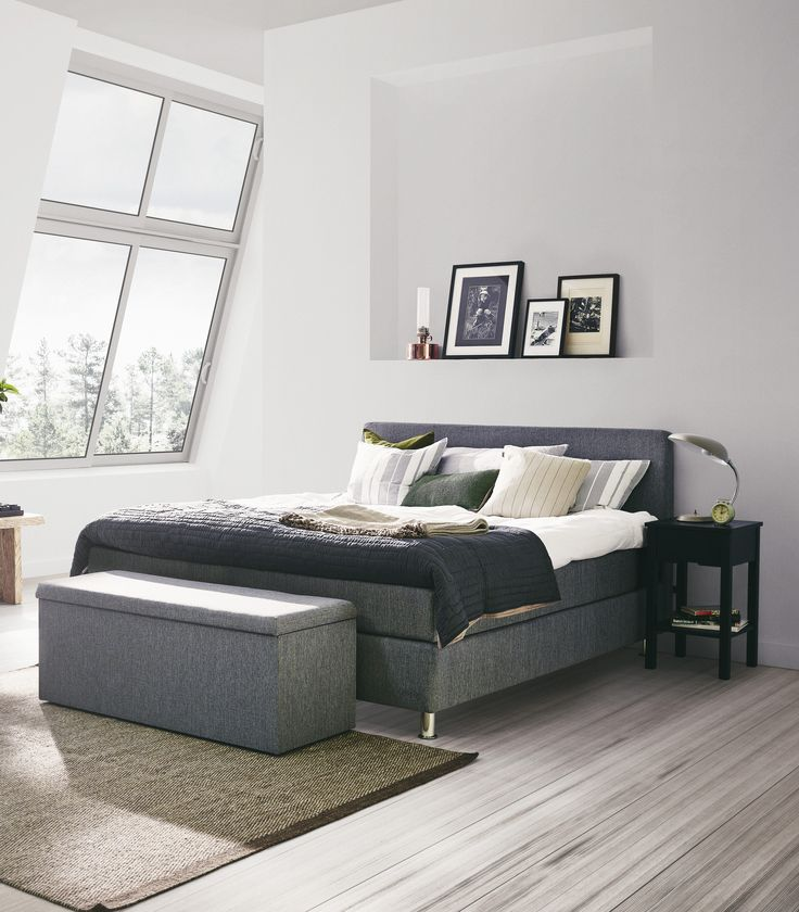 Jensen Signature J3 continental bed in Grey textiles.