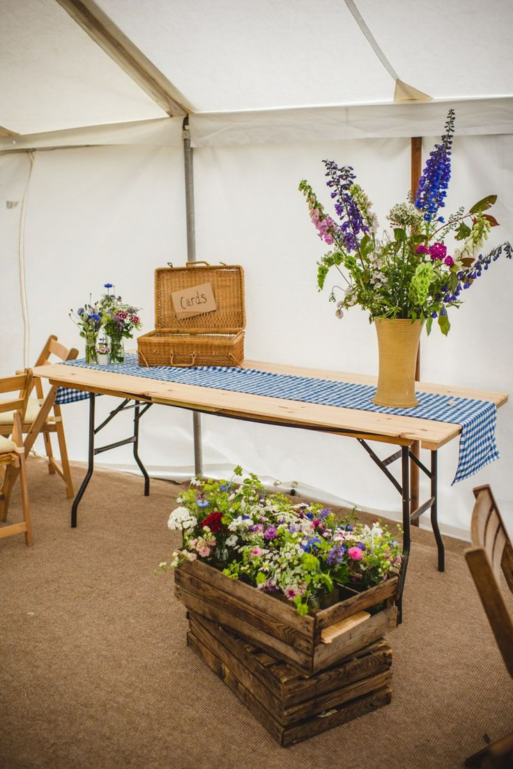 Crate Flowers Card Hamper Table Rustic Country Marquee Foliage Gingham Wedding http://www.sophieduckworthphotography.com/