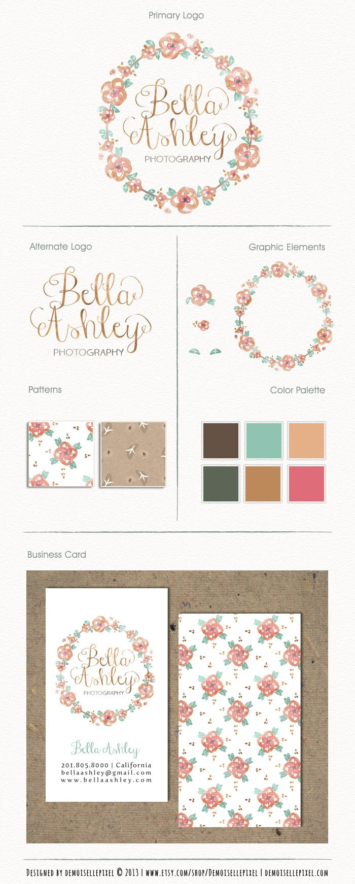 Branding Package with logo, watercolor floral wreath design : https://www.etsy.com/listing/156761825/branding-package-custom-premade-logo-set?ref=shop_home_active