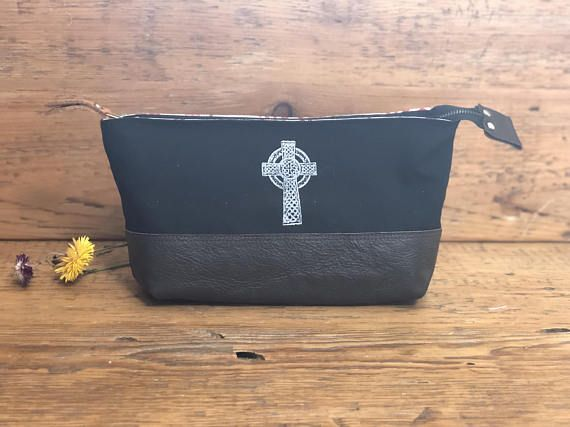 Canvas and Tweed Bag  Make-up bag Art bag Pencil case