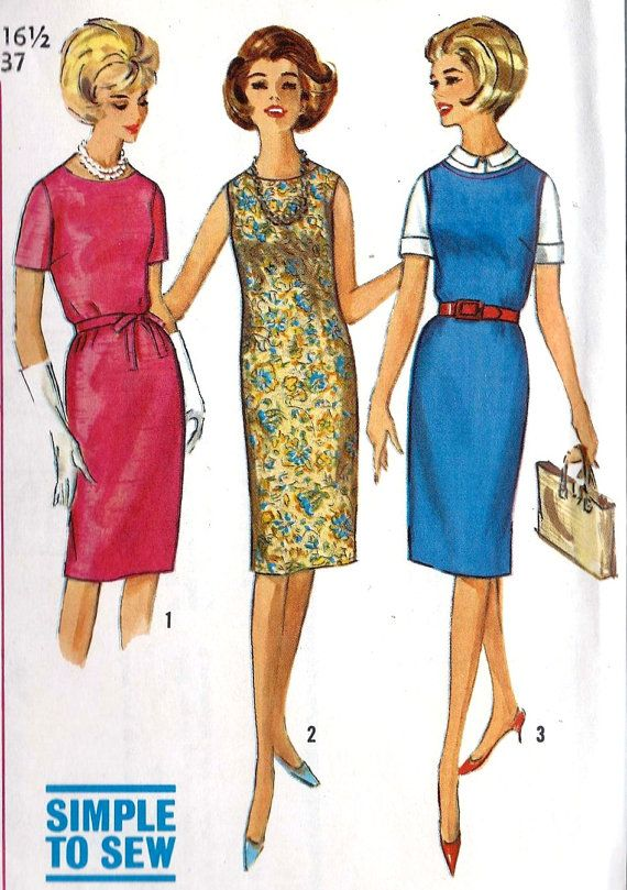 1960s Misses' One-Piece Dress or Jumper in Half-Sizes Vitnage Sewing Pattern, Simplicity 5409 bust 37""
