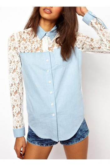 In love with the denim and lace.