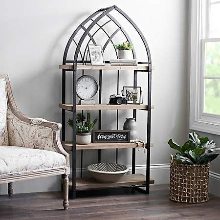 Natural Wood Shelf With Black Metal Arch Frame In 2019