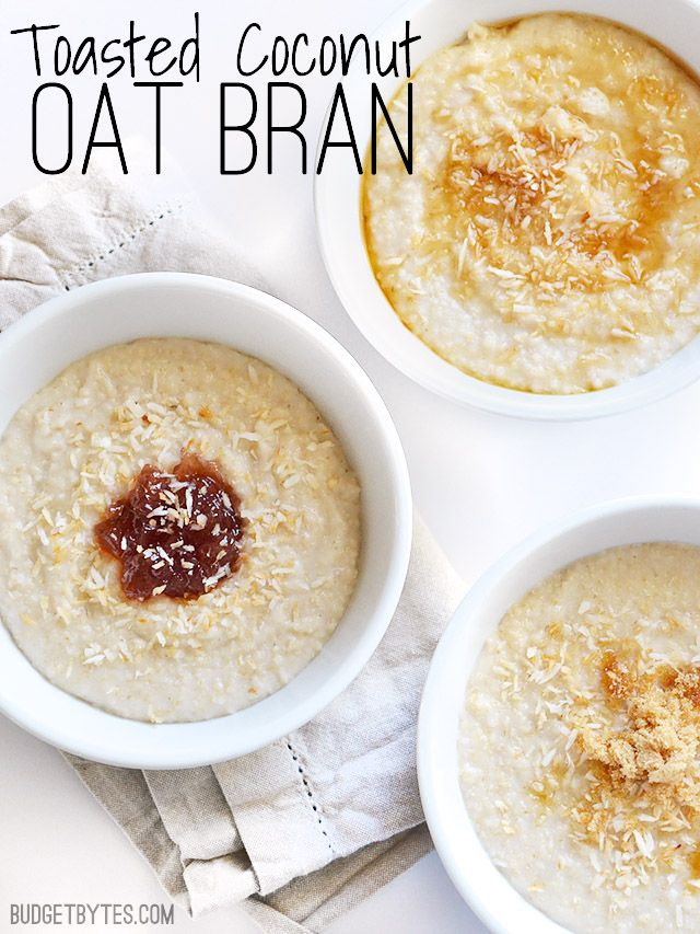 Coconut milk makes your oats extra creamy. Toasted Coconut Oat Bran - BudgetBytes.com #vegetarian #vegan #breakfast