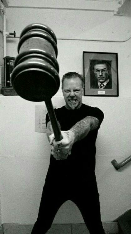 """JAMES HETFIELD of METALLICA, holding a big hammer  """"The World's No:1 Online Heavy Metal T-Shirt Store"""". Check it out our Metalhead Clothing and Apparel Store, Satanic Fashion and Black Metal T-Shirt Stores; www.HeavyMetalTshirts.net"""